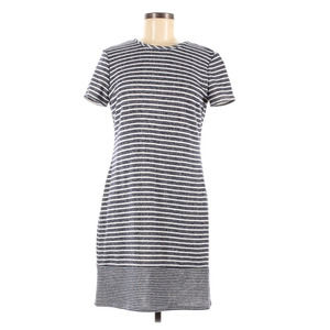 WESTPORT Blue White Cotton Striped Casual Dress S